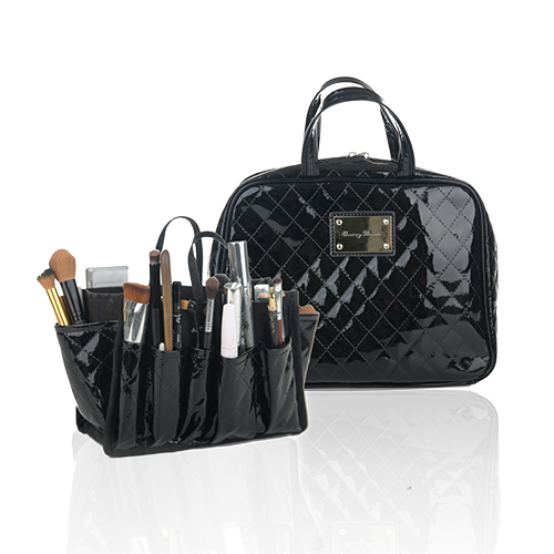 Quilted Patent Leather Beauty Organizer (2 Piece Set)